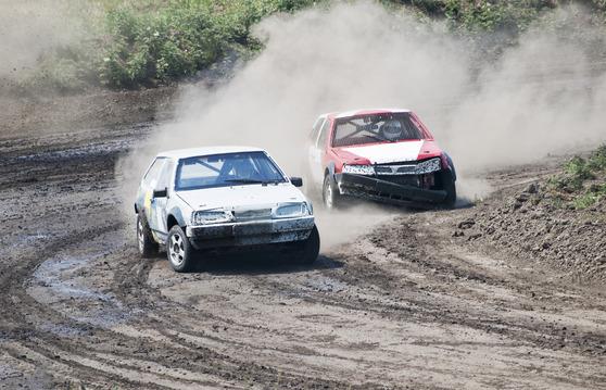 two former street cars racing